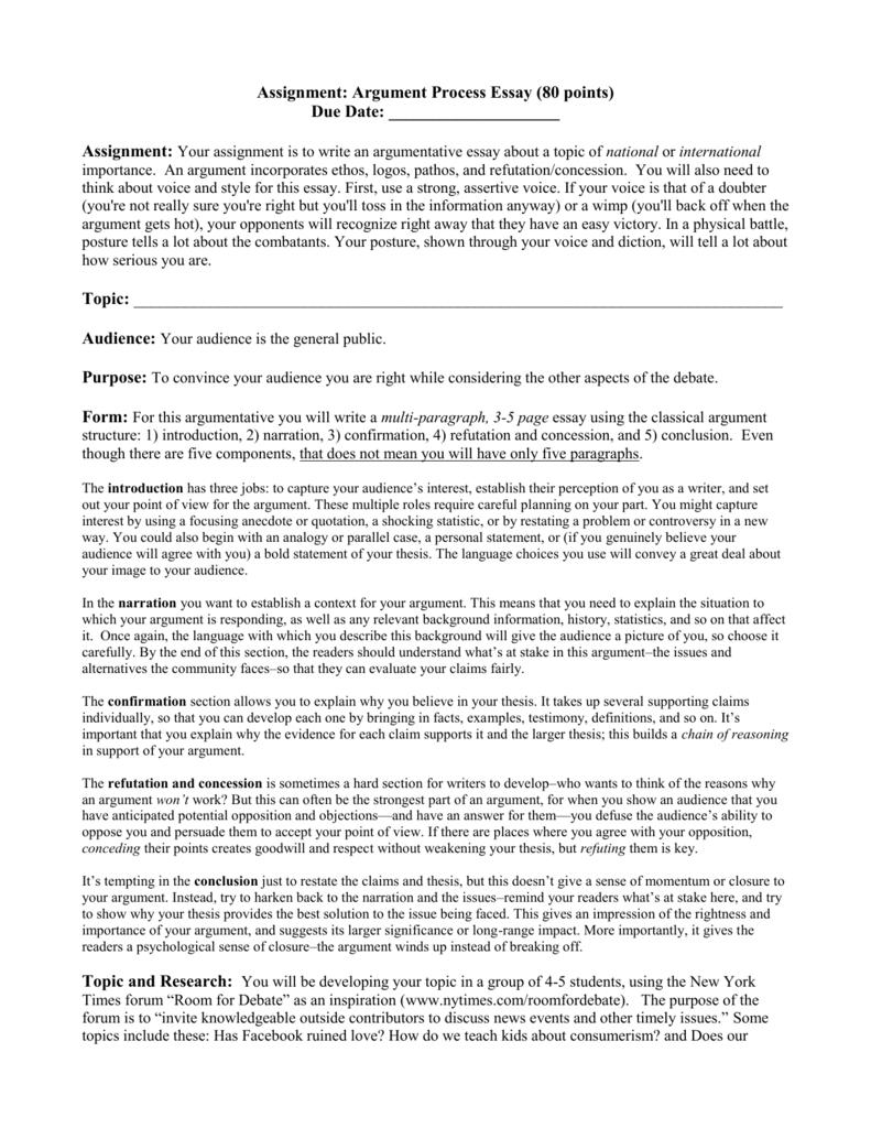 Argument Essay Assignment