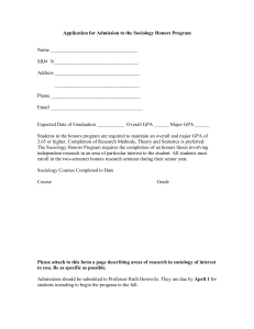 Application for Admission to the Sociology Honors Program
