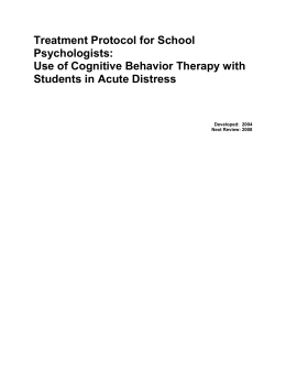 Use of Cognitive Behavior Therapy with Students in Acute Distress