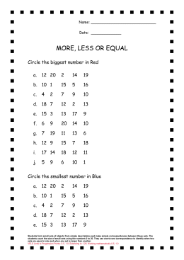 MORE, LESS OR EQUAL