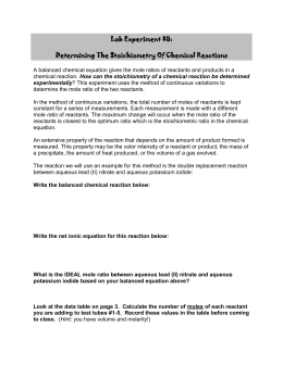 Lab Experiment #8: Determining The Stoichiometry Of Chemical