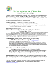 The Peace Festival Day Sept 19th, 10 am – 2pm Kicks off Peace