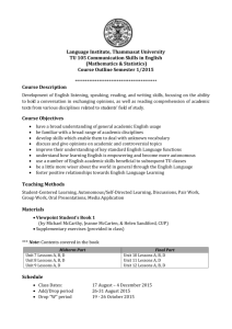 TU105 Course Outline 1-2015 Special Program