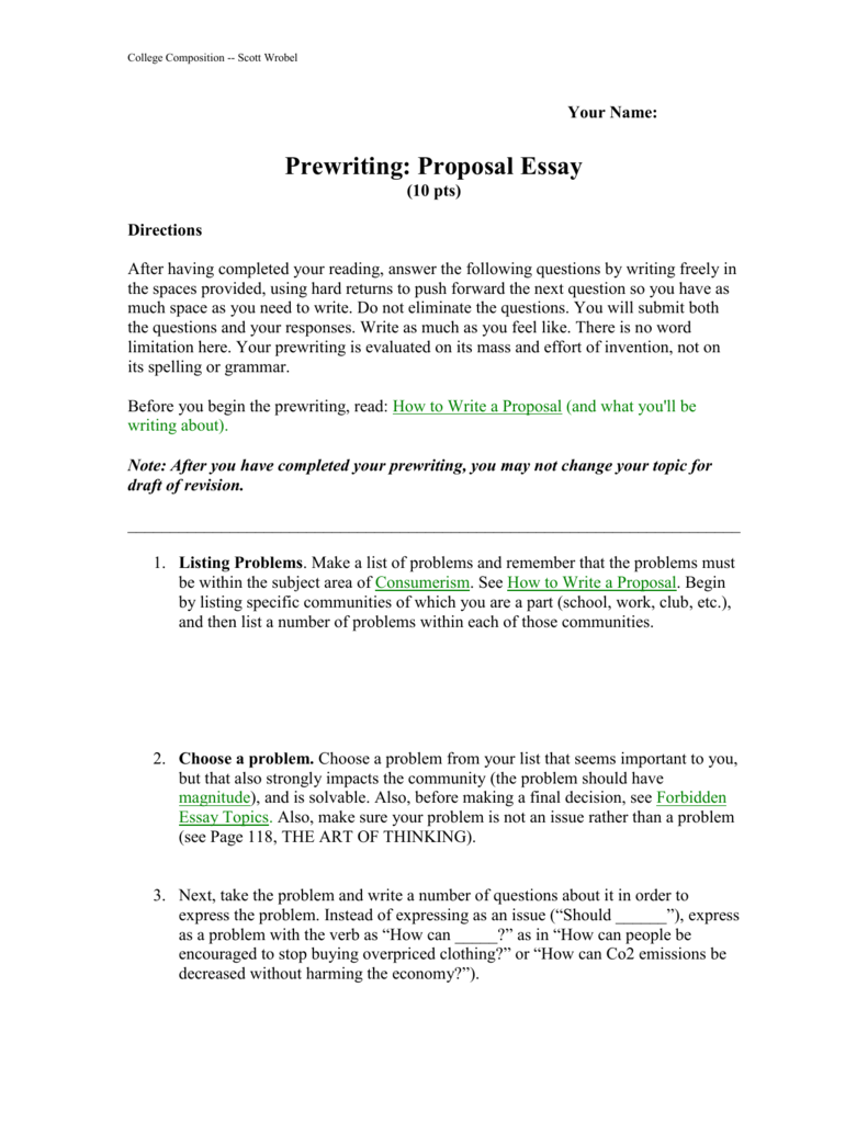 Prewriting Proposing A Solution Essay