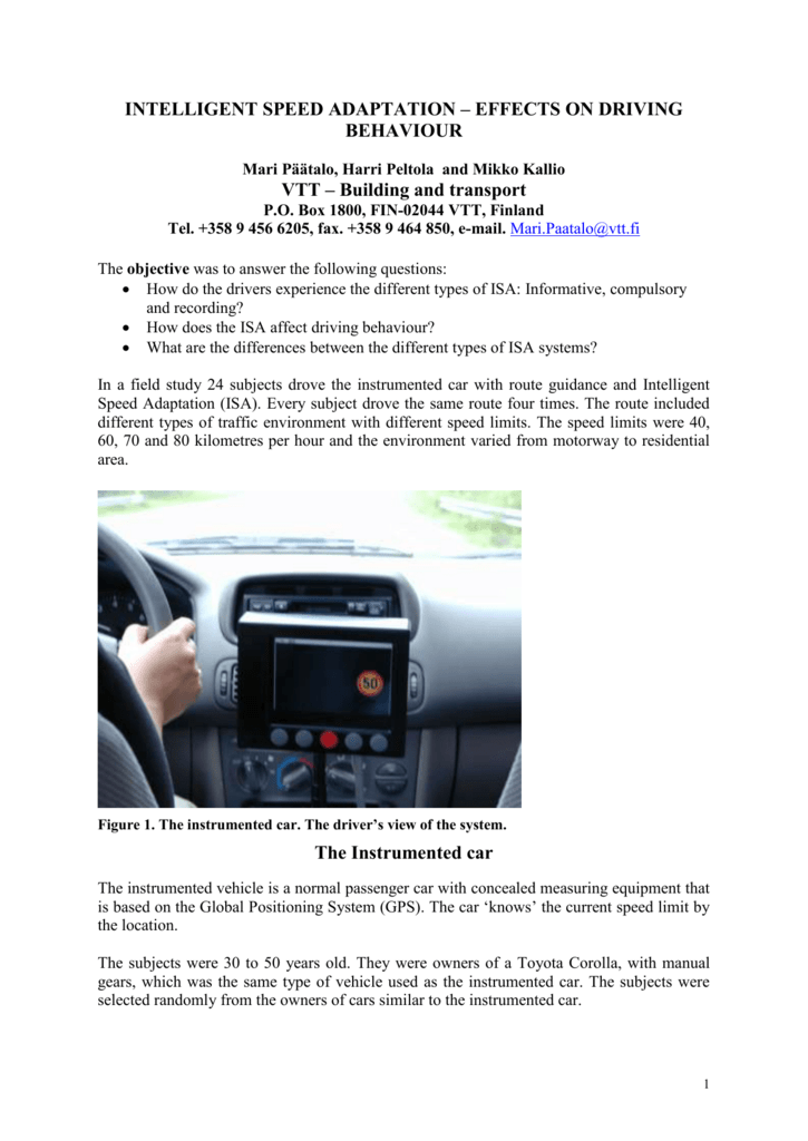 Intelligent speed adaptation-effects on driving behaviour  Paper