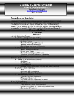 Biology I Course Syllabus - Spearfish School District