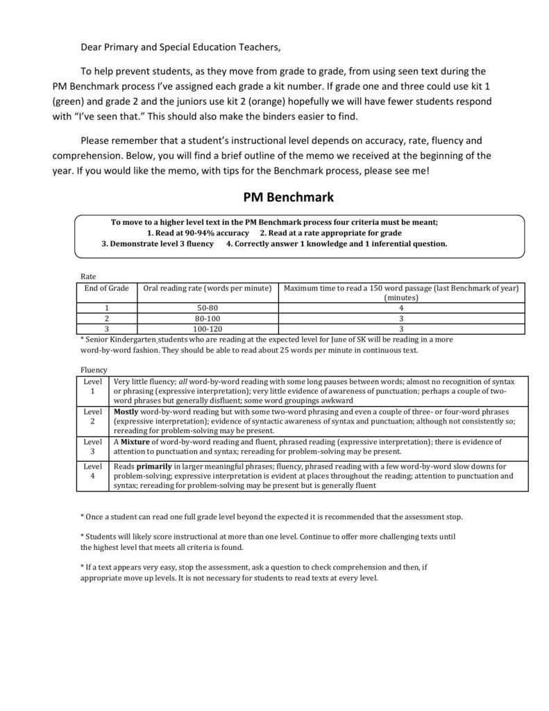 Criteria for PM Benchmark