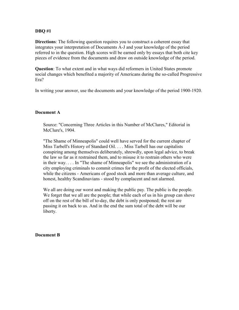 dbq 14 progressivism essay