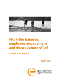 Work-life balance, workplace culture, discretionary effort