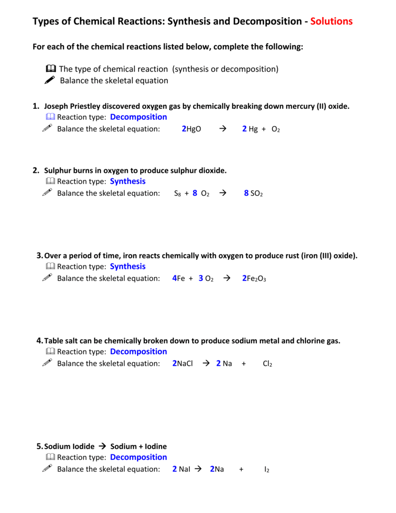 worksheet Decomposition Reactions Worksheet 32 synthesis and decomposition worksheet answers
