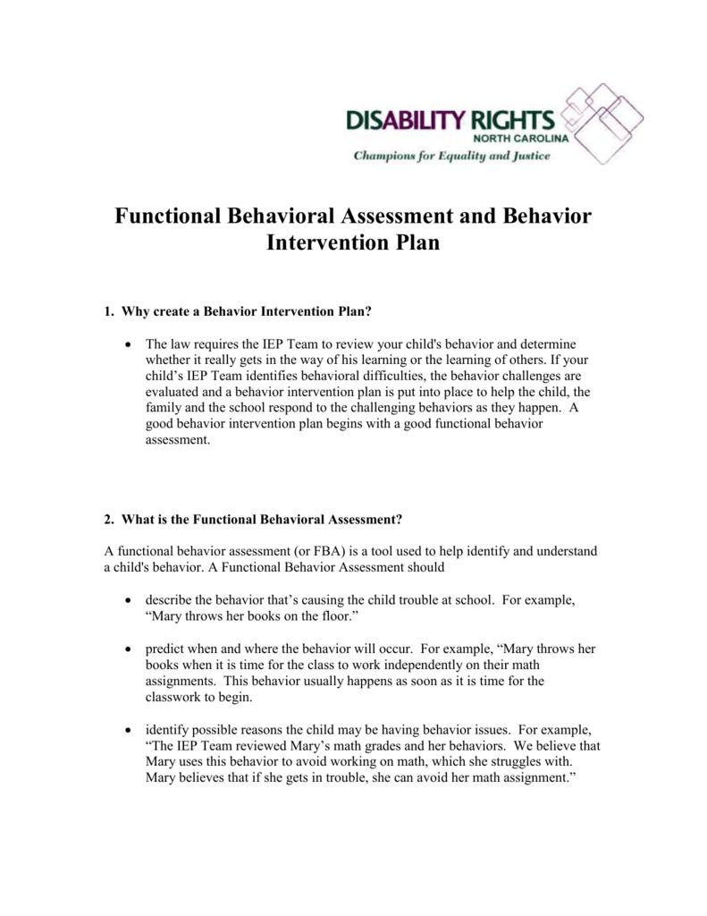 Functional Behavioral Assessment And Behavior Intervention Plan