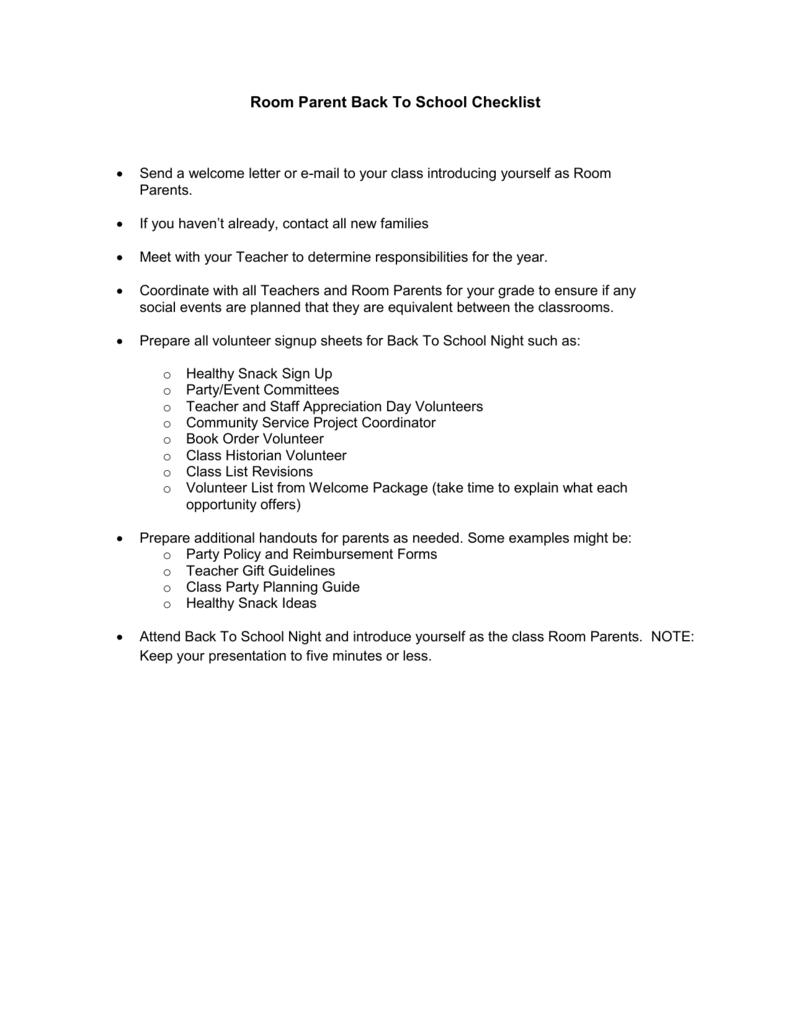 Room Parent Back To School Checklist