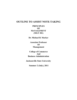 Class Notes Outline - Jacksonville State University