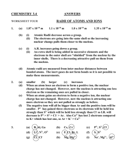 CHEMISTRY 3.4 ANSWERS WORKSHEET FOUR RADII OF ATOMS