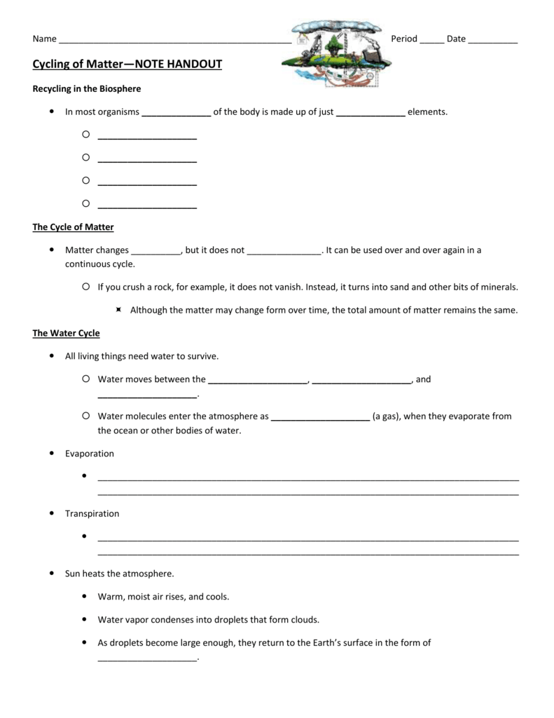 worksheet Cycles Of Matter Worksheet c of m guided notes
