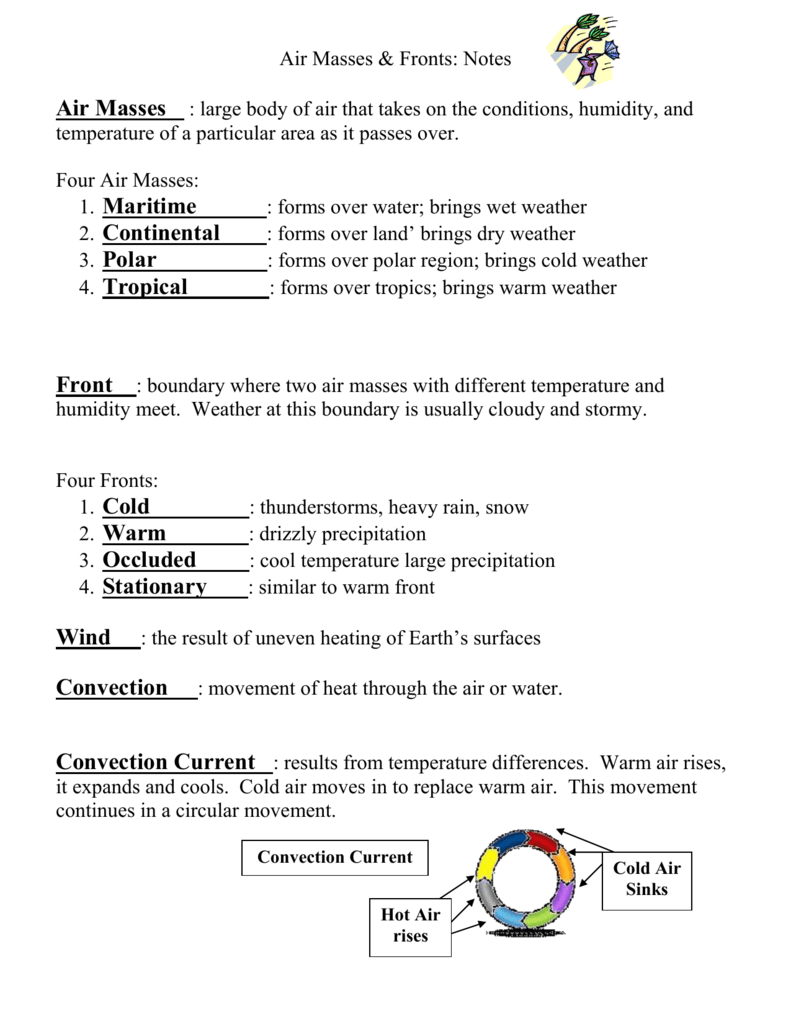 Printables Of Air Masses And Fronts Worksheet Answers