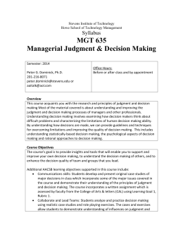 Managerial Judgment & Decision Making