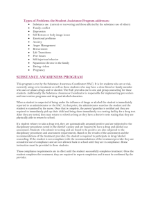 Types of Problems the Student Assistance Program addresses: