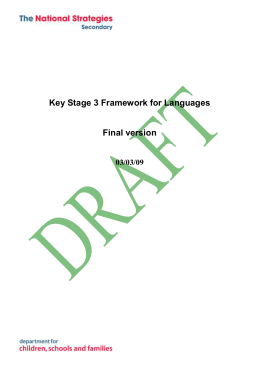 Framework for Key Stage 3 Modern Foreign Languages