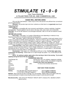 STIMULATE 12 - 0 - 0 - The Catalyst Product Group