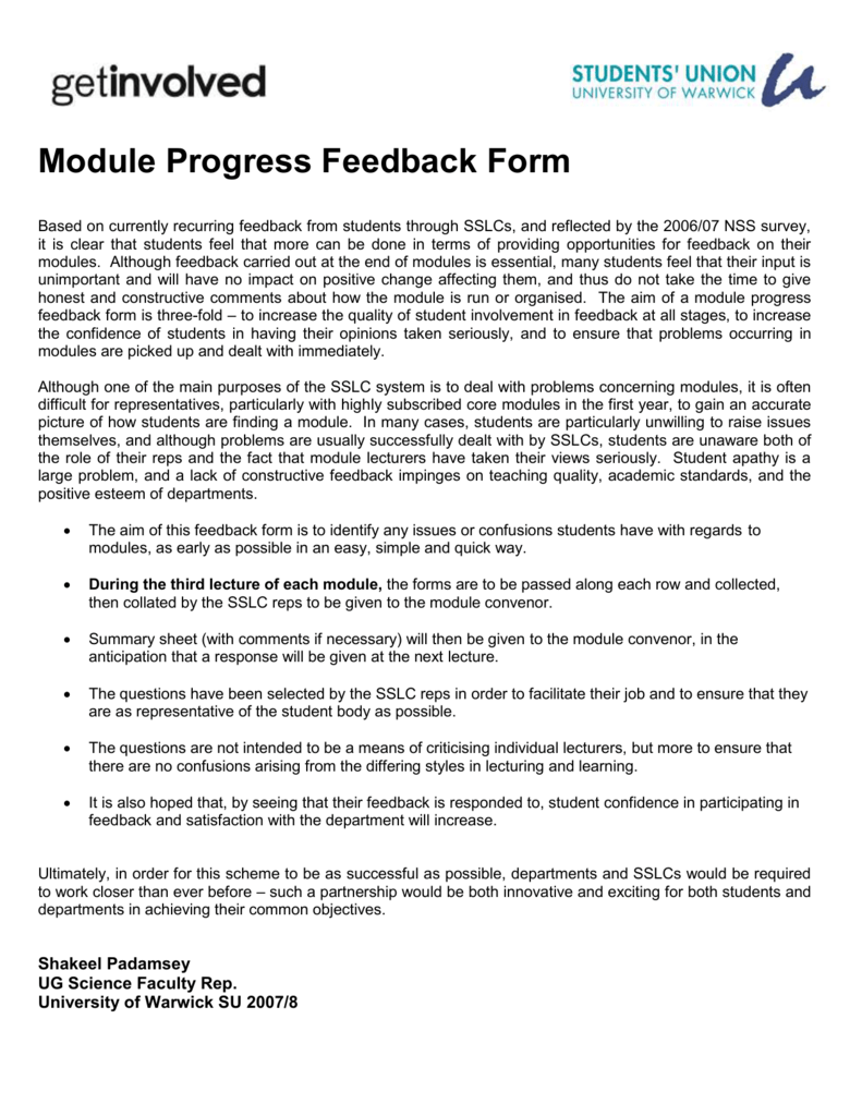 Mid Module Feedback Form