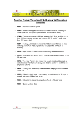 Teachers Notes: Victorian Child Labour and