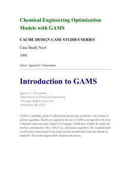 Chemical Engineering Optimization Models with GAMS CACHE