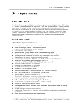 Prescott`s Microbiology, 9th Edition 34 Adaptive Immunity CHAPTER