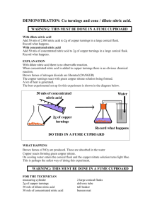 DEMONSTRATION: Cu turnings and conc / dilute nitric acid