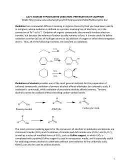 an experiment to oxidize borneol to camphor using sodium hypochlorite Borneol - camphor - isoborneol learning objectives: to illustrate the concepts of oxidation and reduction in organic chemistry, to illustrate the stereochemical effects of these reactions in certain systems, to use ir spectroscopy to.