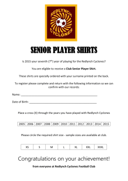 Senior Player Shirts 2015