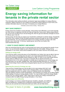 Energy saving information for tenants in the