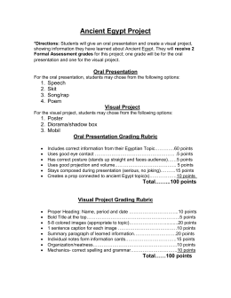 Ancient Egypt Project Directions and Rubric