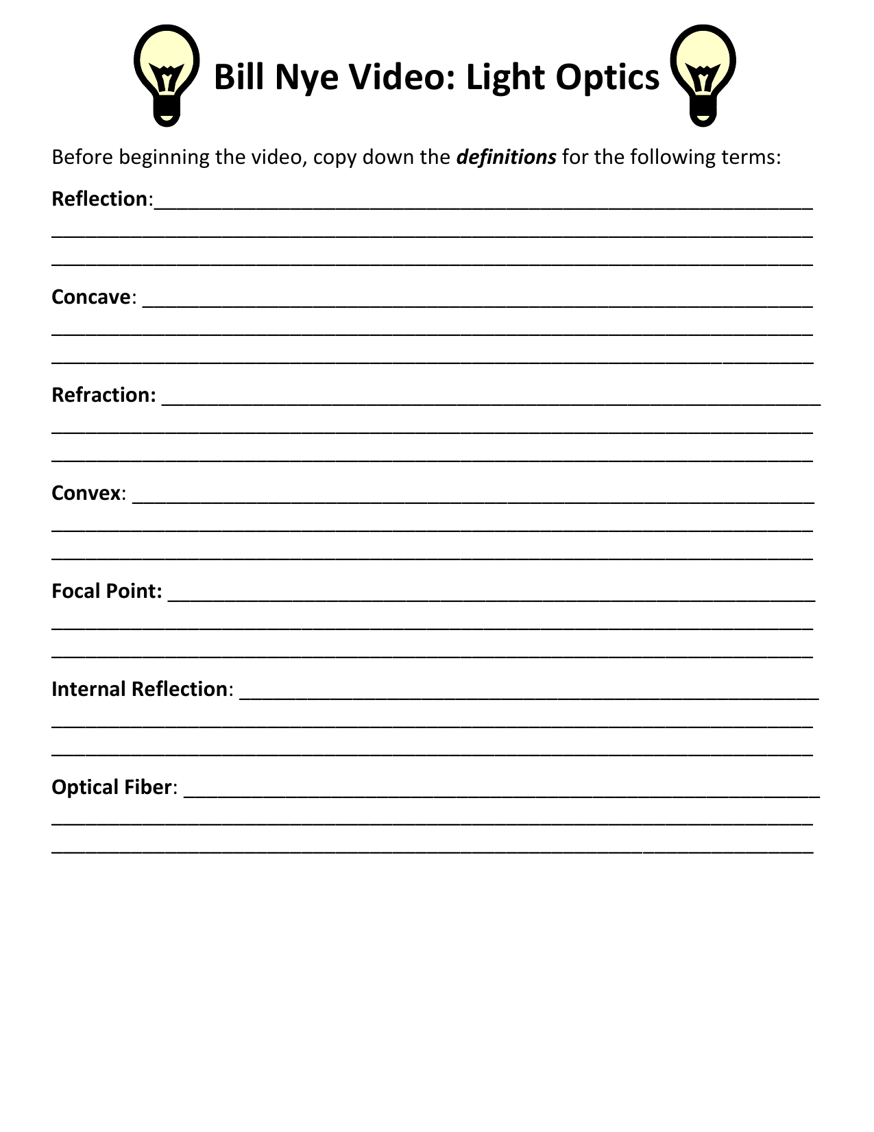 Printables Of Bill Nye Light Optics Worksheet Answers
