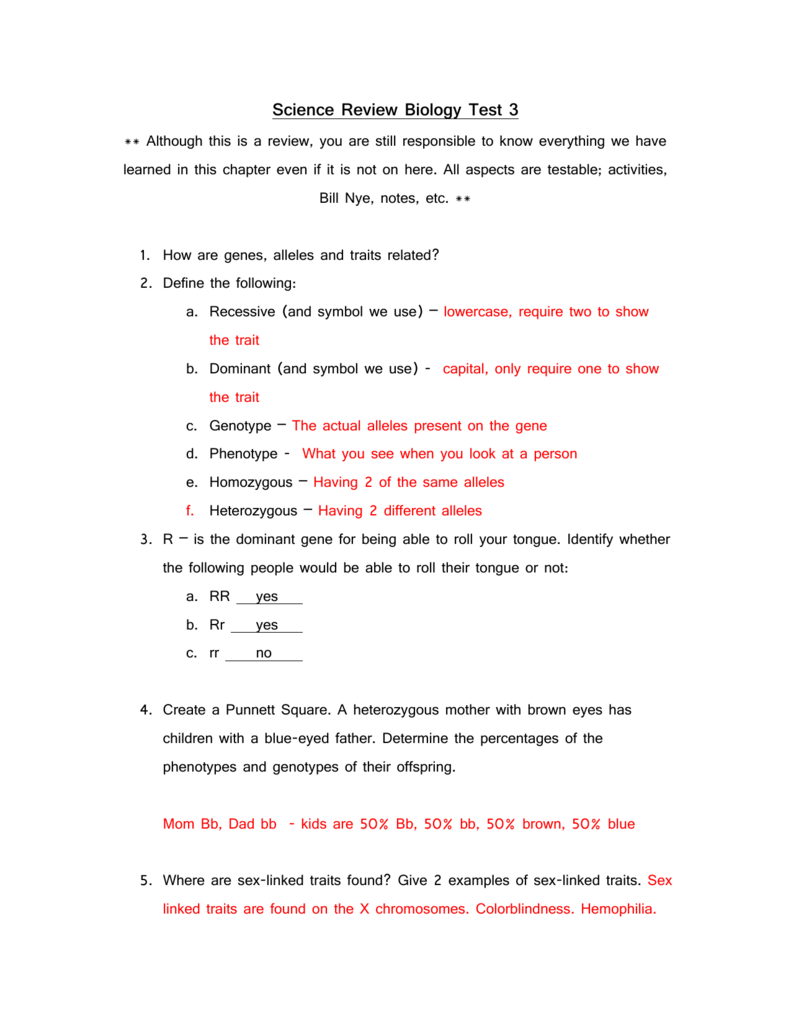 Science Review Test 3 answer key