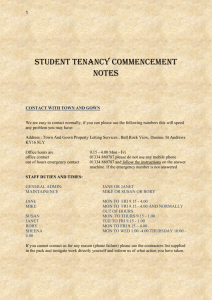 Student Tenancy Commencement Notes