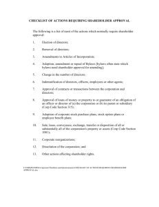 Checklist of Actions requiring Shareholder Approval