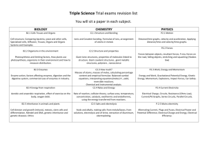 Triple Science Trial exams revision list