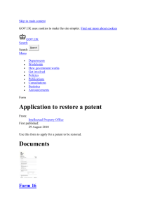Application to restore a patent - Publications