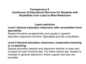 Transparency 9 Continuum of Educational Services for Students