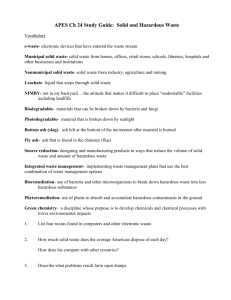 APES Ch 24 Study Guide: Solid and Hazardous - Bennatti