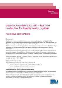 Restrictive Interventions - Department of Human Services