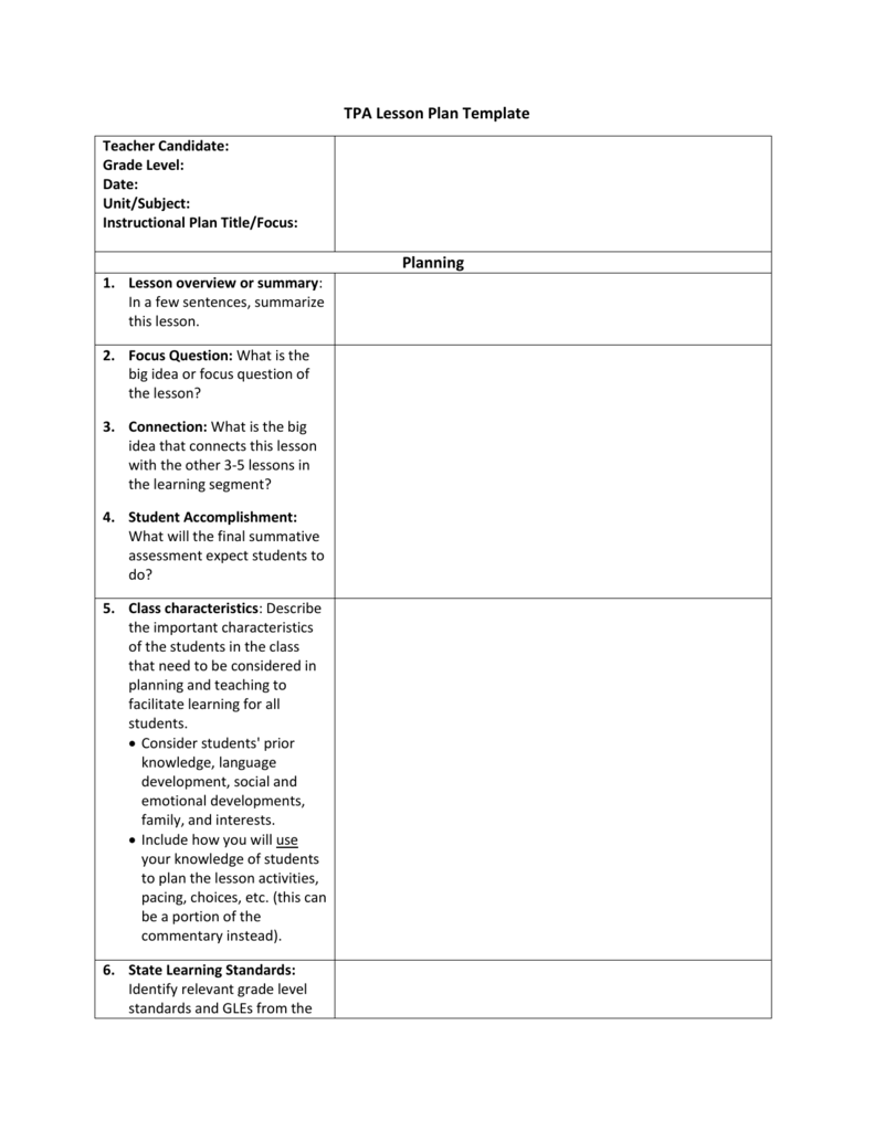 Tpa Lesson Plan Template