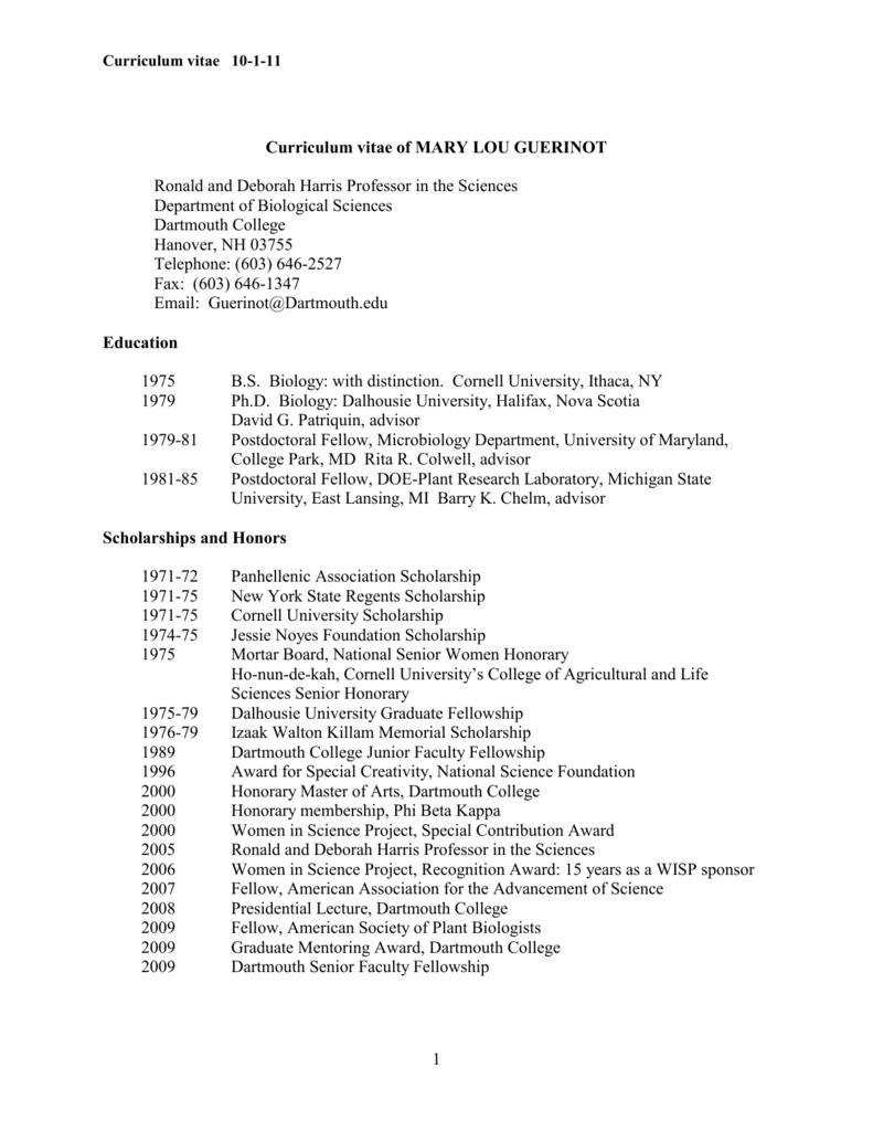 CV template - Dartmouth College