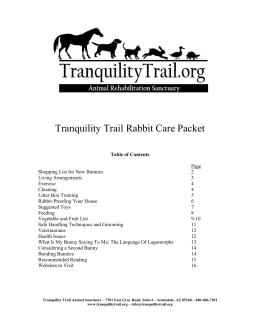 Tranquility Trails Rabbit Information Packet