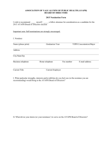 Nomination Form 2015 - Yale School of Medicine