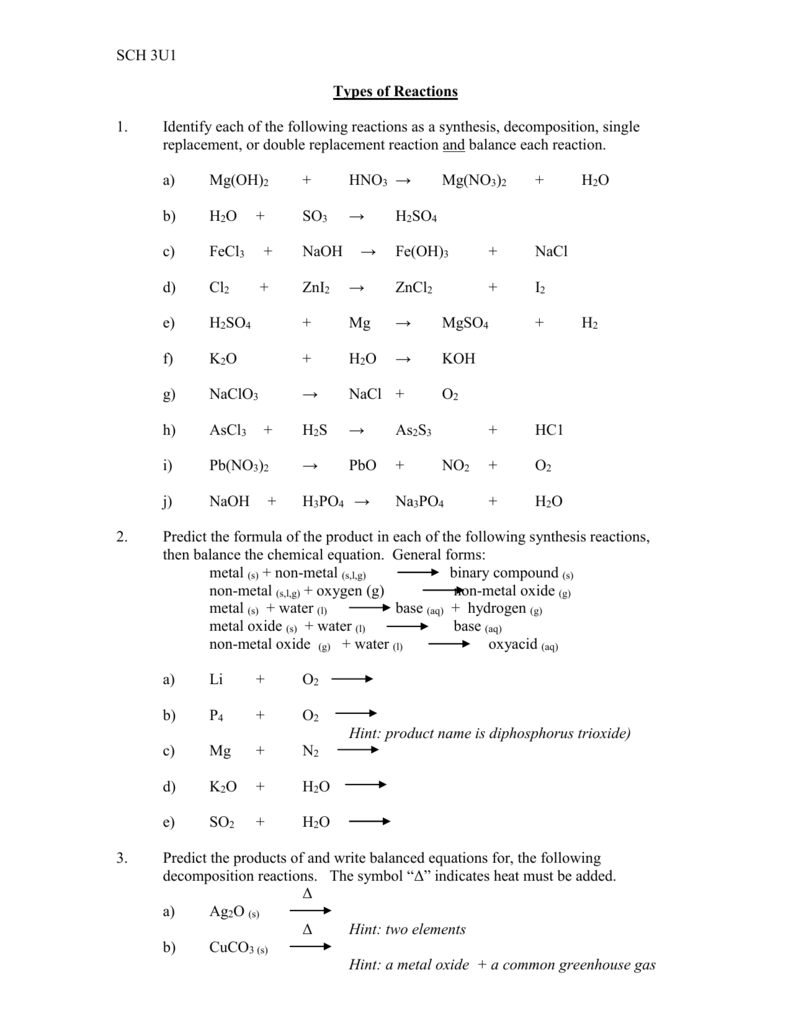 SCH 3U Types of Reactions Worksheet