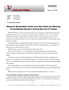 Women`s Basketball: Santa Ana Gets Back On Winning Track