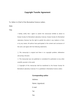 Copyright Transfer Agreement To: Editor-in