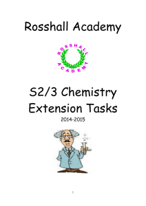 Rosshall Academy S2/3 Chemistry Extension Tasks 2014